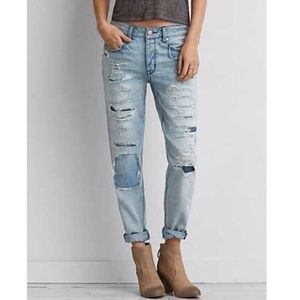 American Eagle Tomgirl Button Fly Patchwork Jeans